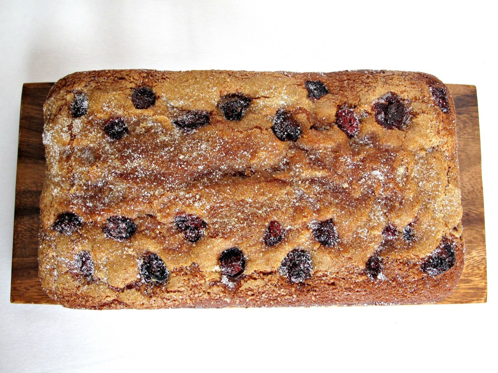 A loaf of Cranberry Clementine Whole Wheat Quick Bread from above