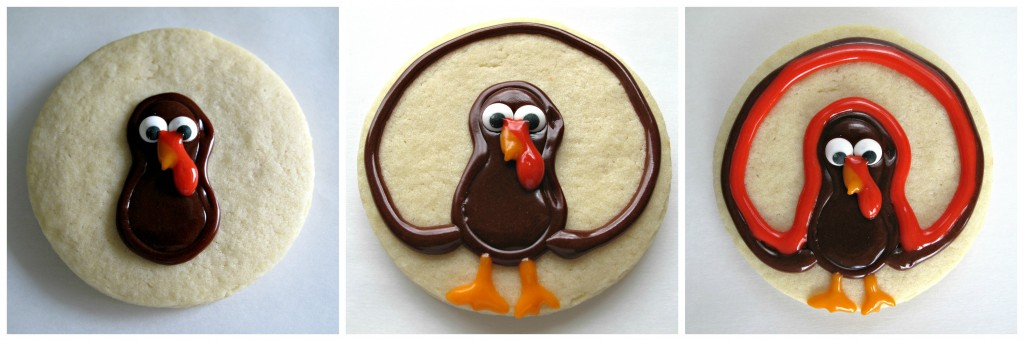 Turkey Decorated Sugar Cookies steps 4 through 6