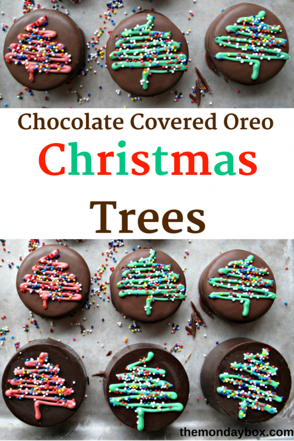 Pin graphic showing Chocolate Covered Oreos with Christmas tree design