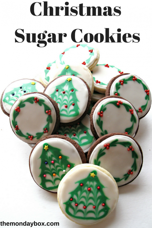 Pinterest graphic showing Iced Christmas Sugar Cookies with Christmas tree and wreath designs.