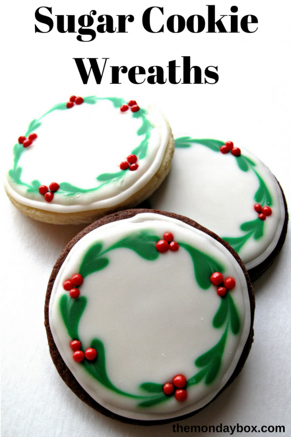 Pin graphic showing 3 Iced Christmas Sugar Cookies with Christmas wreath designs