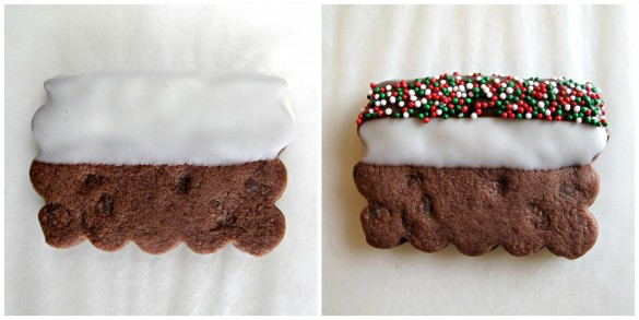First photo showing Chocolate Shortbread Cookies edge dipped in white chocolate. Second photo showing cookie edge then dipped in dark chocolate and sprinkled with Christmas nonpareils