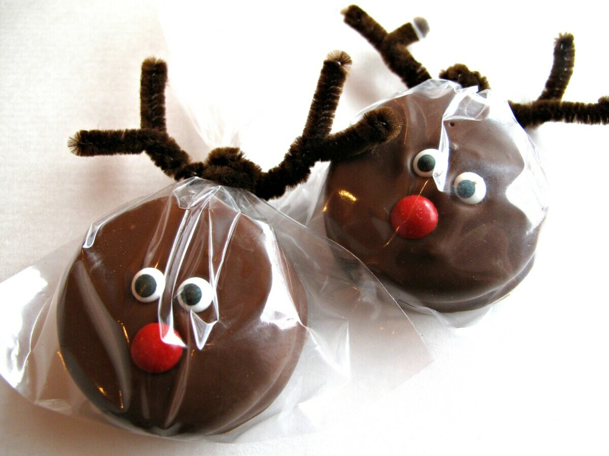 Two Rudolph Chocolate Covered Oreos.