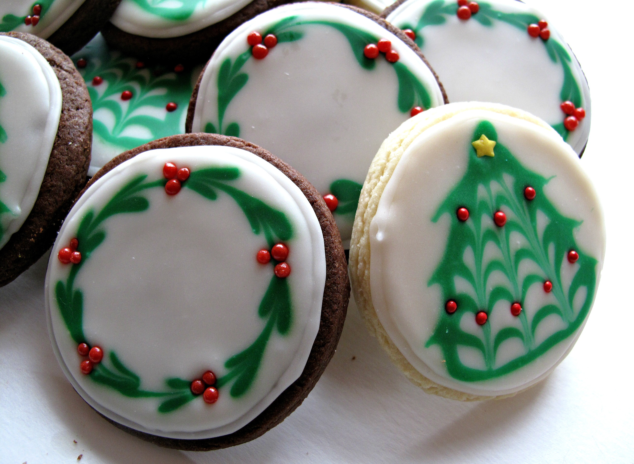 Chocolate Covered Oreos And Iced Christmas Sugar Cookies