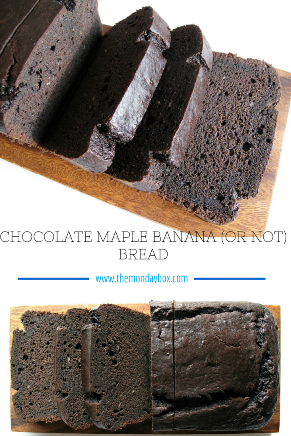 Chocolate-Maple Banana (or not) Bread- A moist and dense loaf cake, sweetened with maple syrup, and made extra chocolaty with mini chocolate chips. Your choice add the bananas or leave them out! | The Monday Box
