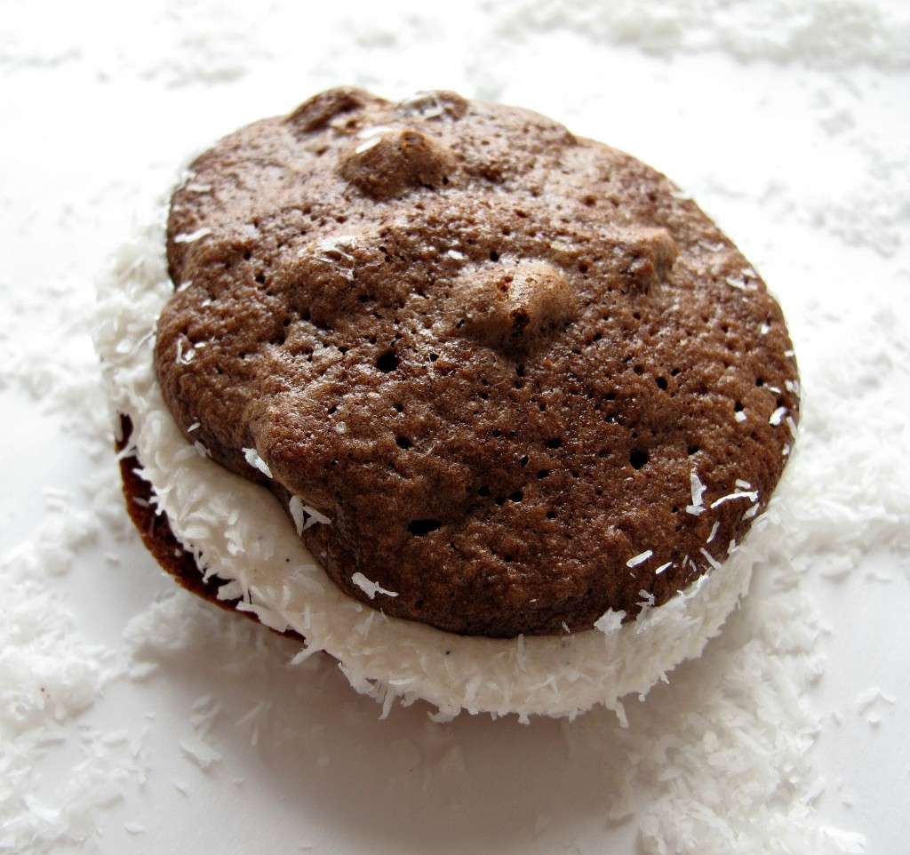 1 Passover Chocolate Chip Whoopie Pies closeup showing top chocolate cookie bumpy with chocolate chips