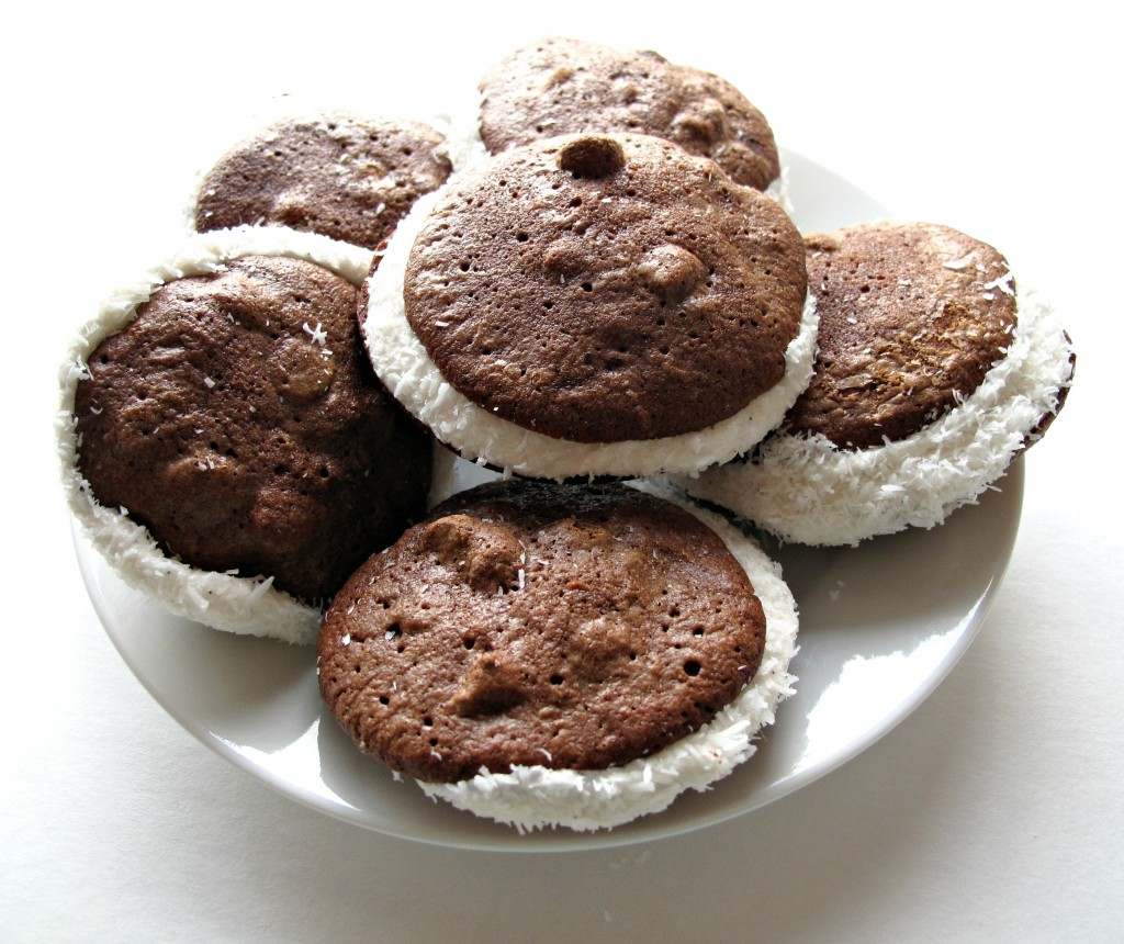 Passover Chocolate Coconut Whoopie Pies (Gluten Free) on white plate