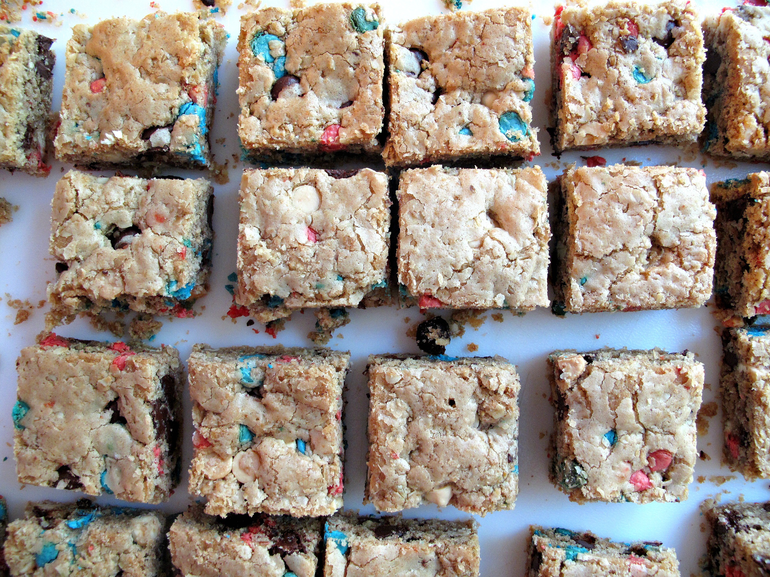 Chip Oatmeal Cookie Bars- With homemade red, white and blue chips ...