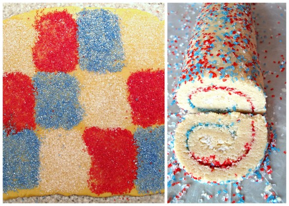 Spiral Sparkler Cookies are made by photo 1 shows dough rolled out with squares of red, white, and blue sparkle sugar. Photo 2 shows the dough rolled into a log and one cookie sliced off showing the swirl of colors inside.