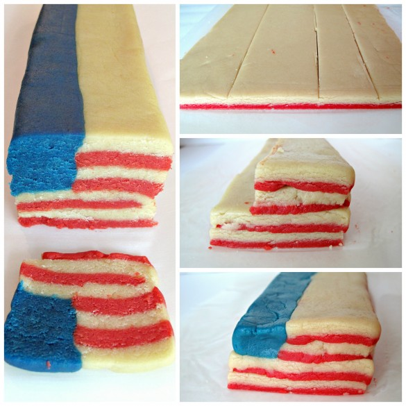 photos of Flag Cookies made in steps. Photo 1 thin layers of red and white dough are sliced into rectangles. Photo 2: the rectangles of red and white dough are stacked. Photo 3: A squared off log of blue dough is attached in the upper left corner. Photo 4: 1 cookie is cut from the stacked log looking like an American flag.