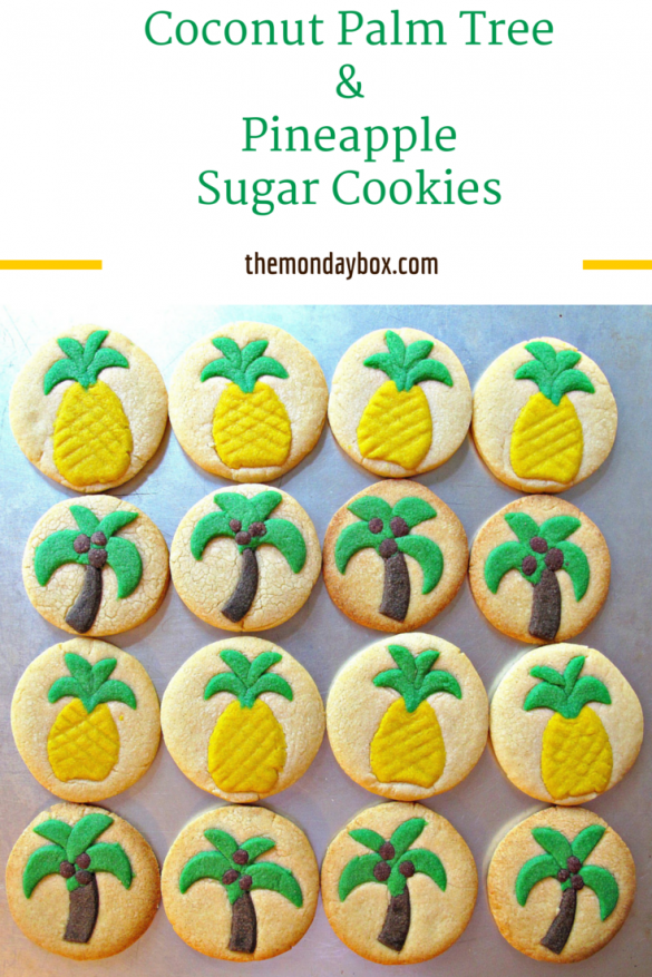 Coconut Palm Tree/Pineapple Sugar Cookies- thin cut-outs of colorful dough pressed onto crispy, vanilla sugar cookies, just like playing with playdoh! |The Monday Box