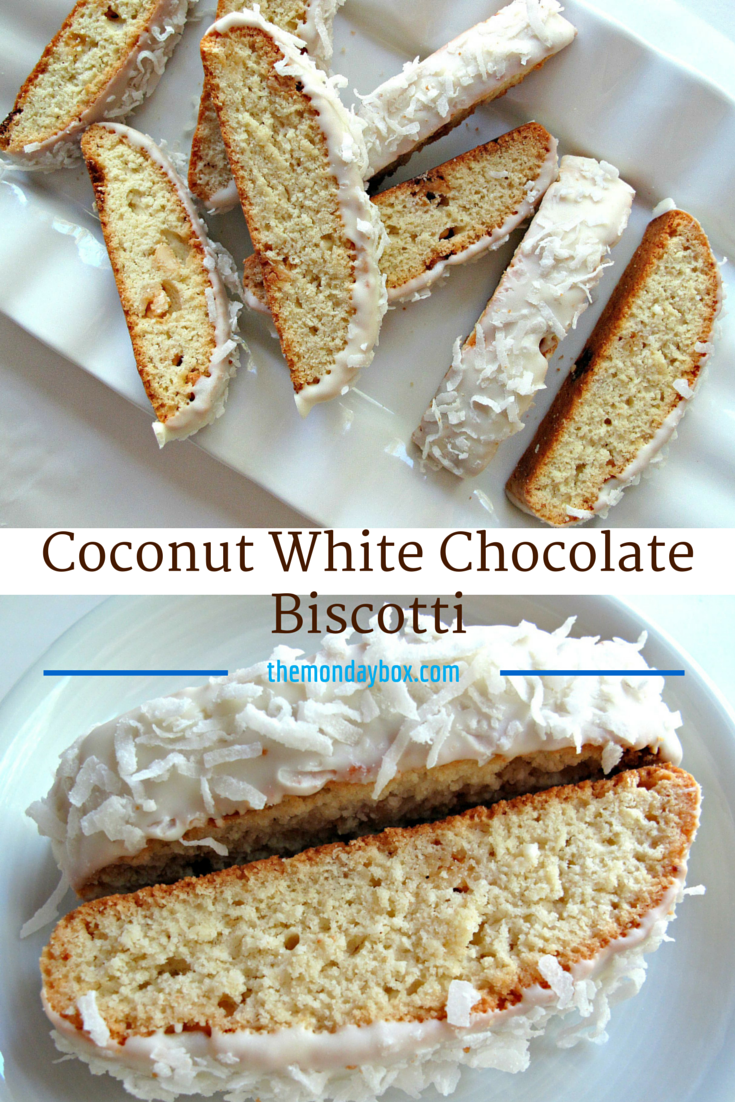 Coconut White Chocolate Biscotti- crunchy coconut cookies coated in ...