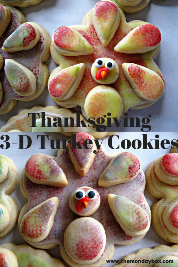 3-D Turkey Cookies Closeup Pinterest pin