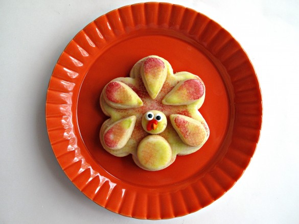 turkey cookie on orange plate