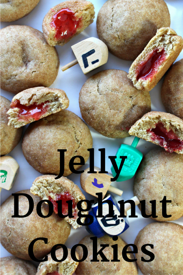 "Jelly Doughnut Cookies- a soft, cakey cookie rolled in cinnamon sugar with a ""jelly"" center! (See the recipe to discover the SECRET to getting the jelly in there!) Roll in colored sugar for a festive presentation on Chanukah/Chrismas cookie platters! 