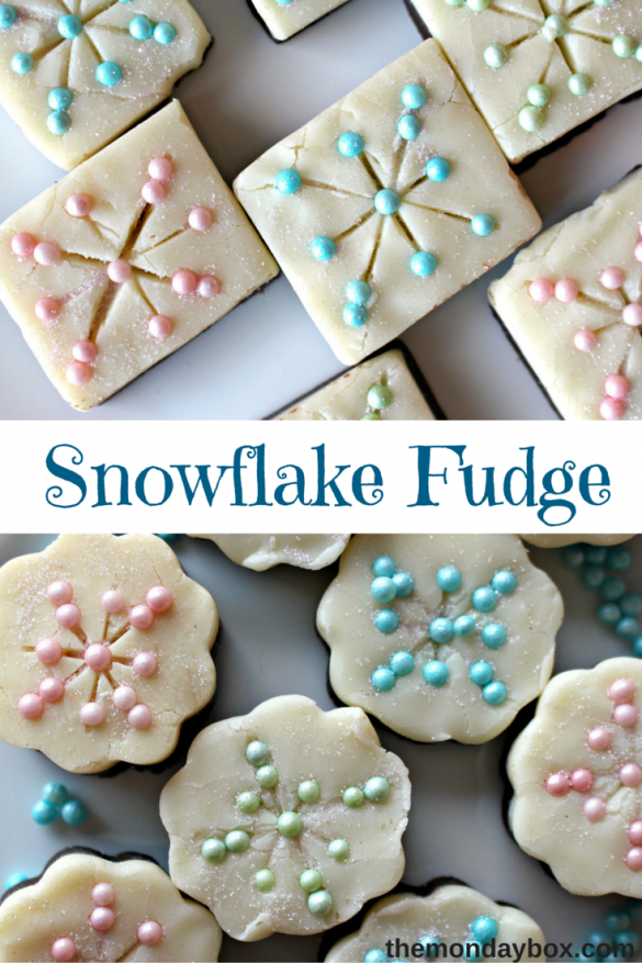 Snowflake Fudge- This super simple recipe, with ONLY 3 INGREDIENTS, makes a sweet, creamy 2-layer fudge. Add a few sprinkles to turn plain fudge into sparkling Snowflakes.|The Monday Box
