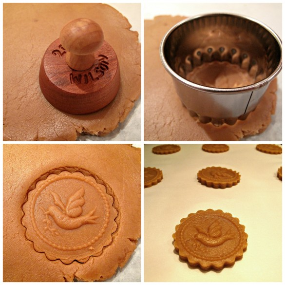 Process photos for making Honey Gingerbread Cookies: press in mold, cut out cookie with cookie cutter