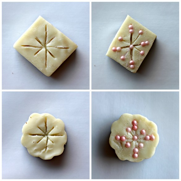 2 Steps for decorating Snowflakes Fudge. Using either a square or circle cutout of fudge with crisscross lines cut into top. Gently press nonpareil sprinkles into the cuts.