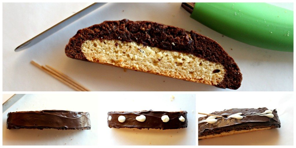 Detail photos showing how to decorate Black and White Biscotti. First spread melted dark chocolate over top surface of cookie. Second, dot melted white chocolate on top of dark chocolate. Third, drag the tip of a toothpick through the white dots to form hearts.