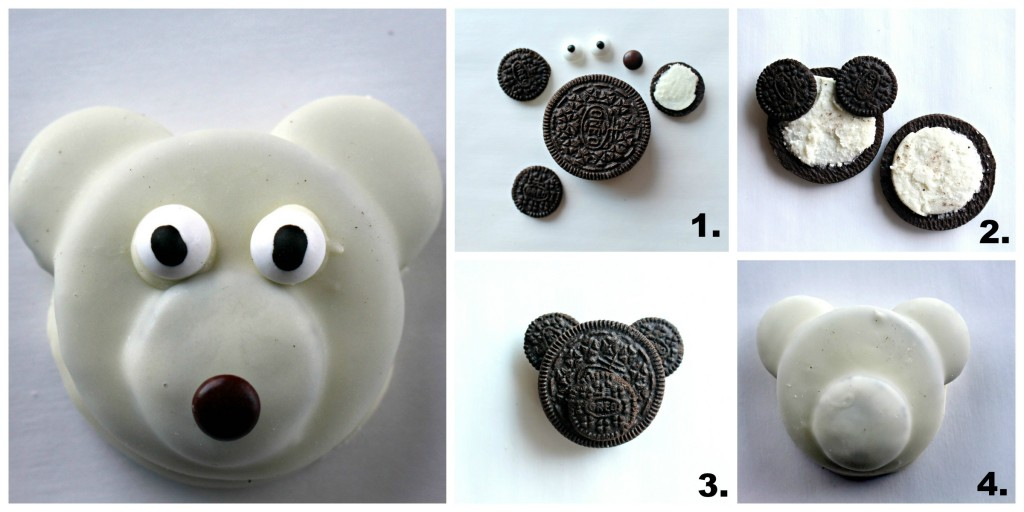 4 steps to make a polar bear decorated oreo