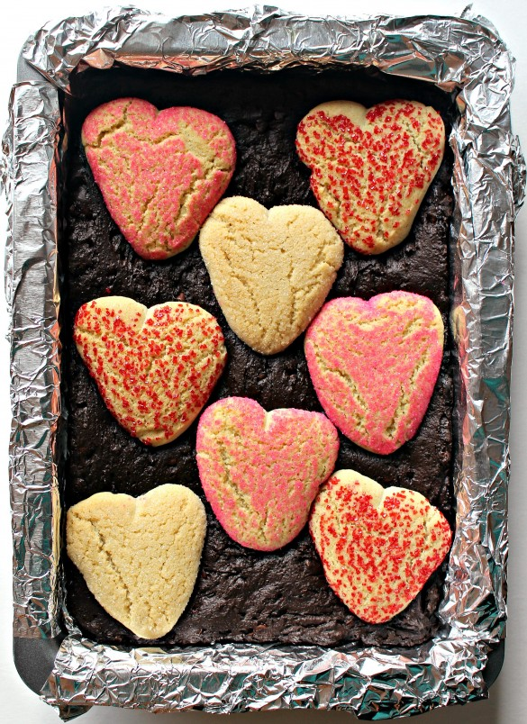 Sugar Cookie Valentine Brownies in pan