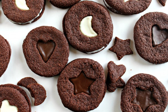 Crunchy Chocolate Mint Sandwich Cookies on white background