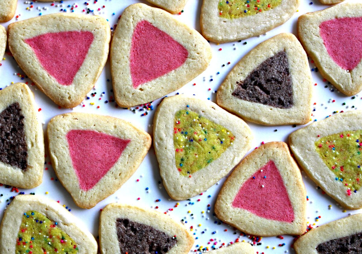 Slice and Bake triangle cookies with pink, yellow, and chocolate brown centers.