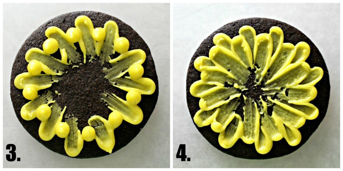Decorating step 3 dot icing between petals step 4 brush dots toward center.