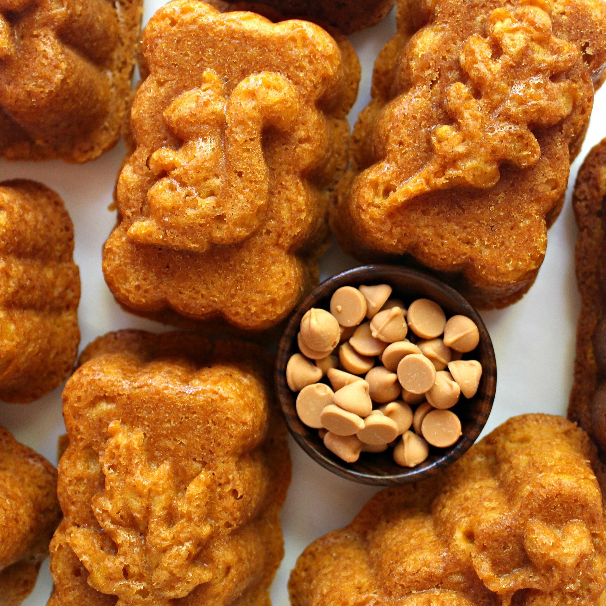 Pumpkin Butterscotch Cakes and a bowl of butterscotch baking chips.