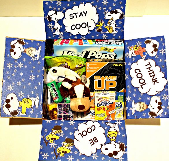 Stay Cool themed Military Care Package with flaps decorated in blue snowflake wrapping paper with Joe Cool images and the messages Stay Cool, Think Cool, Be Cool. Inside the box are contents for cooling such as ice pops, Gatorade mix, drink mix, mint candy.