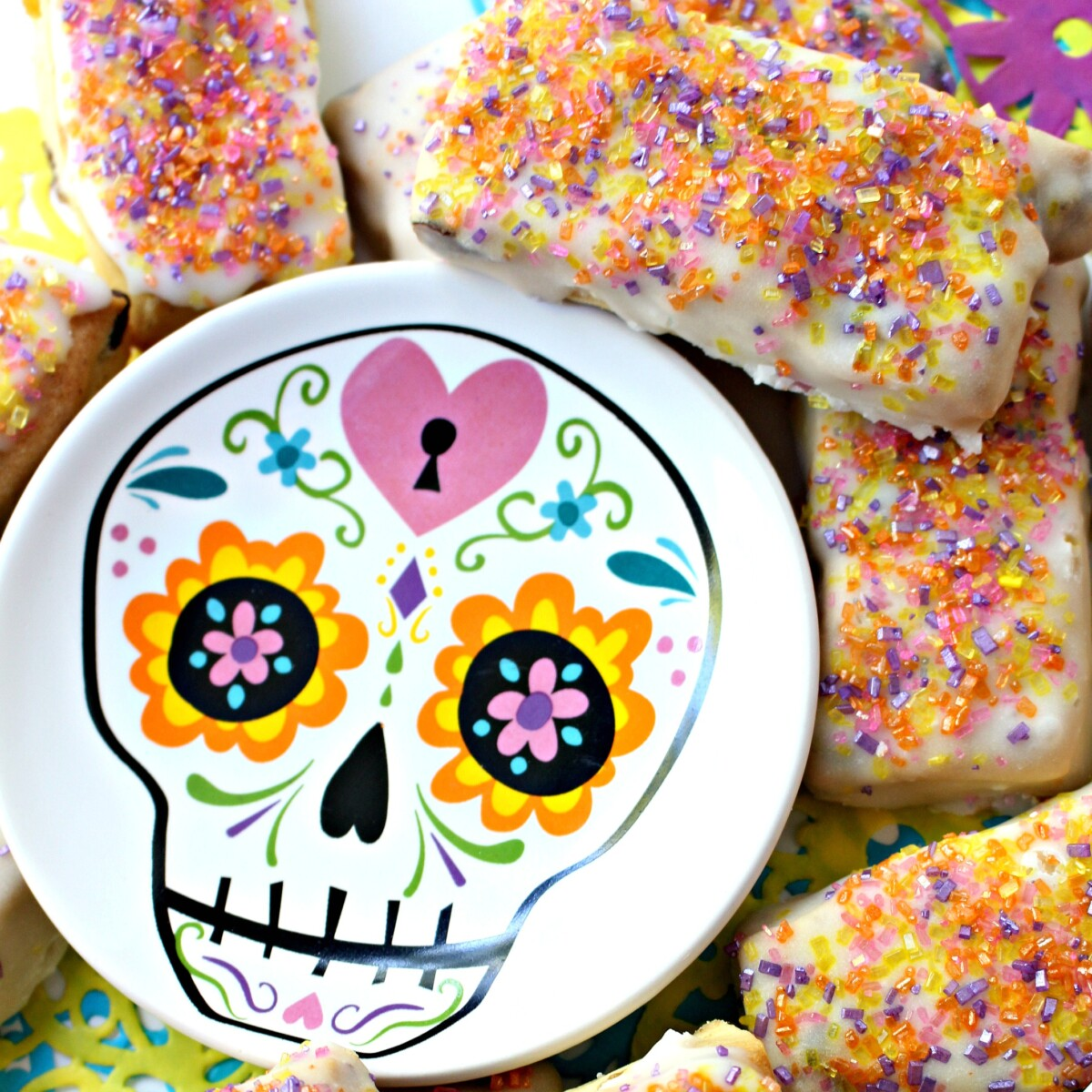 Pabassinas cookies with a calavera skull plate.