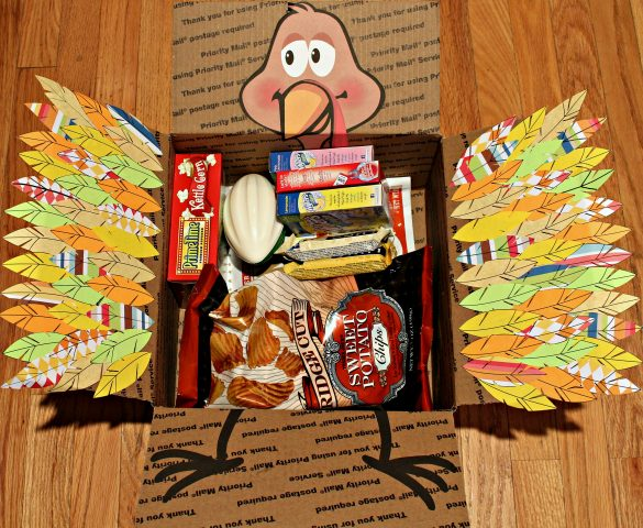 Thanksgiving care package with turkey on inside flaps
