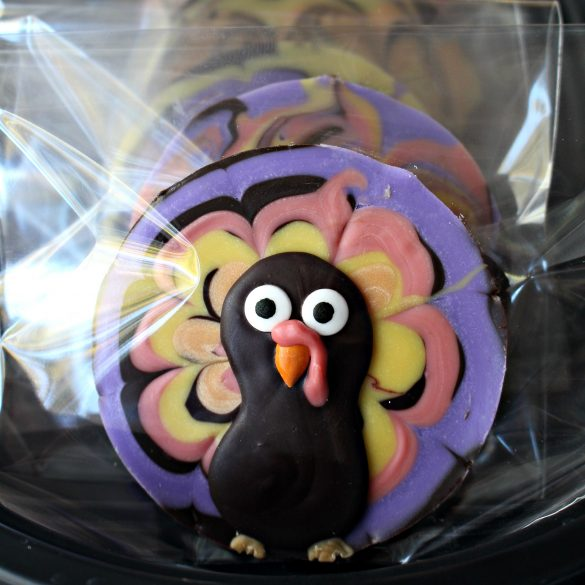 One chocolate turkey in a clear cellophane cookie bag for gift giving.
