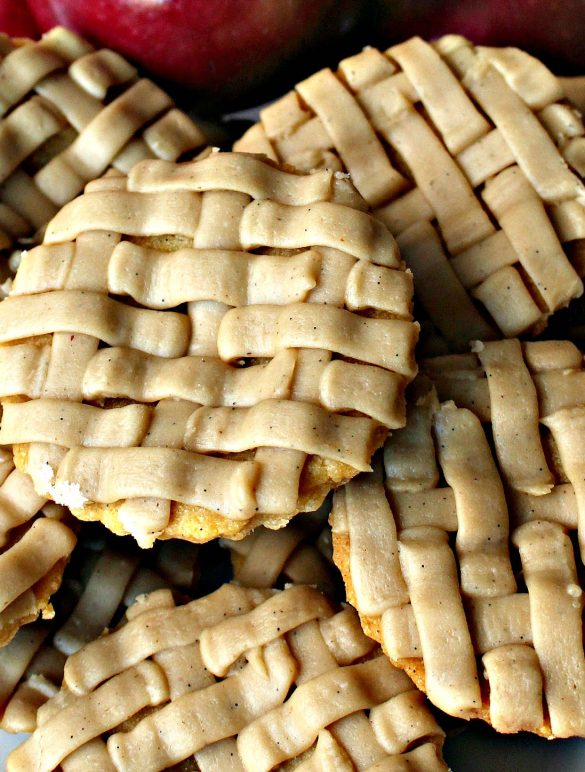 Apple Pie and Pumpkin Pie Cookies with lattice-look piped icing.