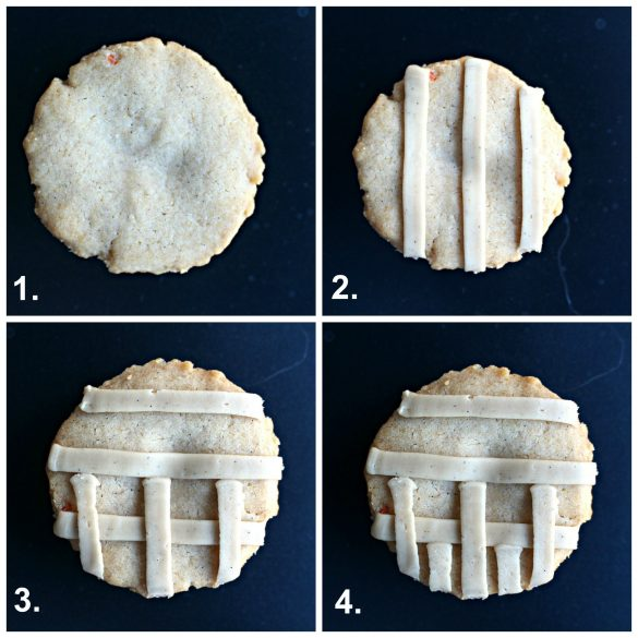 Step-by-step photos of lattice-look icing for Apple Pie and Pumpkin Pie Cookies
