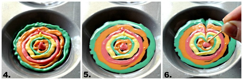 Photo 4: Starting on the outer edge circles are made with the colored chocolate alternating colors. Photo 5: The circles of colored chocolate flatten into the dark chocolate after the pan is banged on the counter. Photo 6: A toothpick tip is dragged from the outer edge toward the center through the circles of colored chocolate.