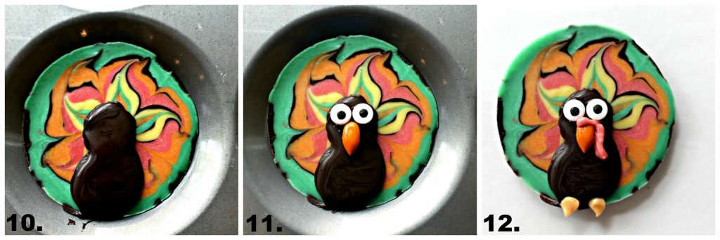 Photo 10: Dark chocolate is piped on top of the colored chocolate design to form the head and body of the turkey in a shape like the number 8. Photo 11: Candy eyes and beak are added to the turkey head. Photo 12: Red colored chocolate is piped onto the beak for the waddle and orange colored chocolate is piped in two dabs under the body for the turkey feet.