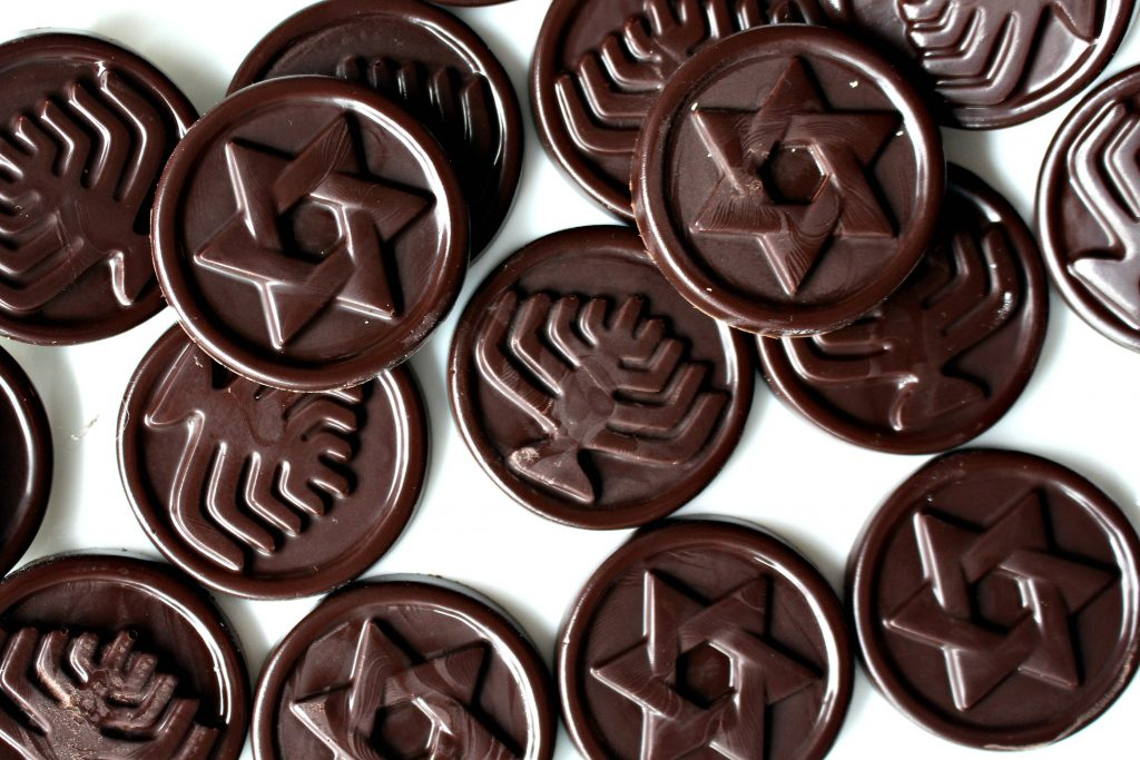 Homemade Chocolate Coins (Chanukah Gelt) with molded designs