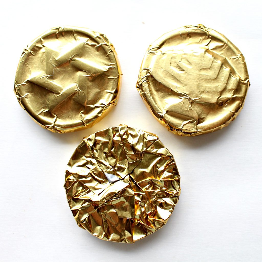 3 pieces of Homemade Chocolate Coins (Chanukah Gelt) wrapped in gold foil