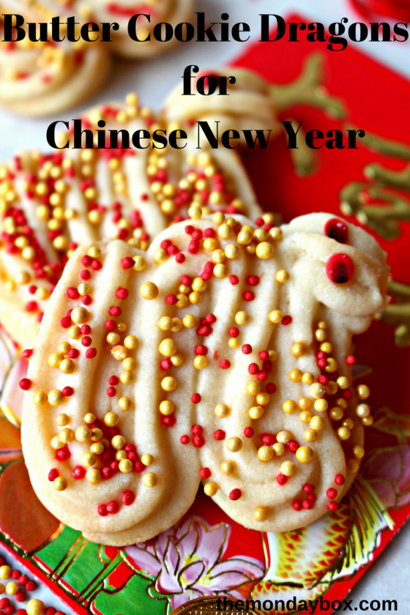 Butter Cookie Dragons for Chinese New Year are a buttery, crunchy celebration cookie to enjoy any time of year!|themondaybox.com