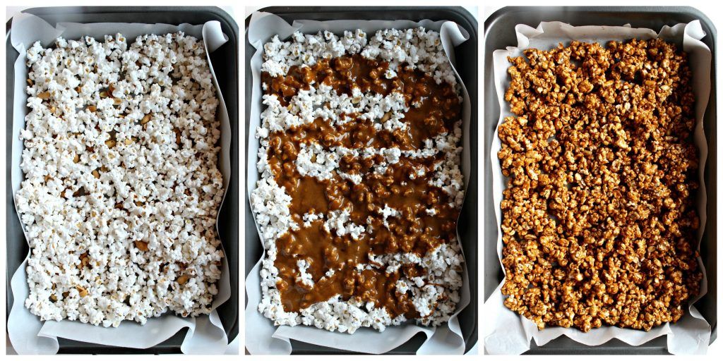 Caramel Popcorn with Peanuts in three steps: 1. Spread popped popcorn and peanuts in a baking pan lined with parchment. 2. Pour hot homemade caramel on top. 3. Toss to coat evenly then bake.