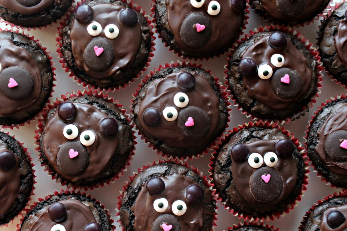 Closeup of brownie bear cupcakes.