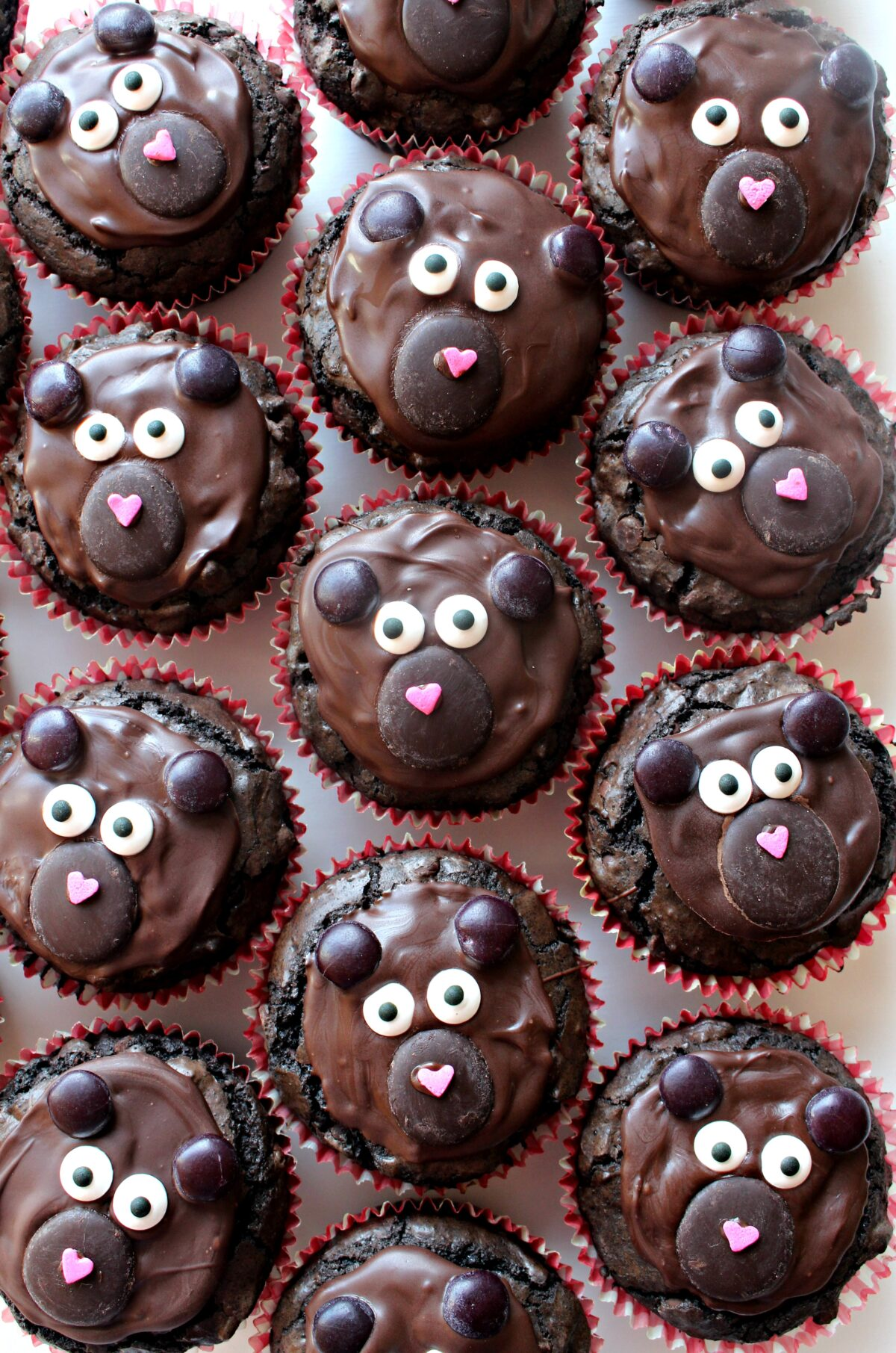 Chocolate brownie cupcakes decorated like bears.