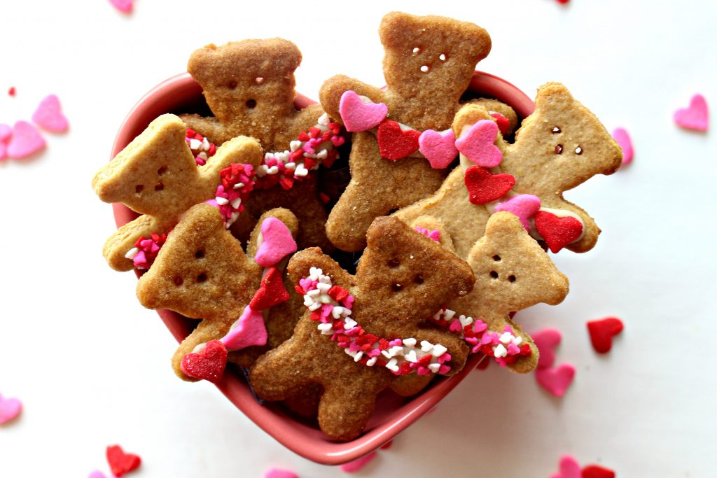 Honey Graham Bears in heart shaped bowl