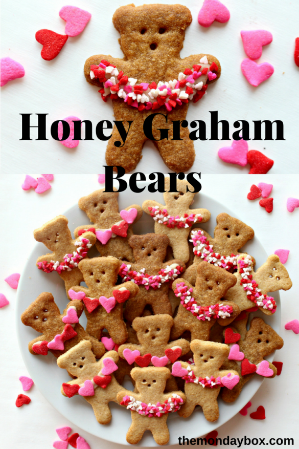 One Honey Graham Bear above a plate of Honey Graham Bears