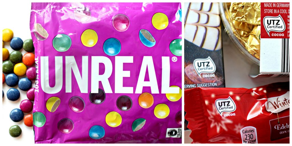Fair Trade/ UTZ chocolate suggestions include Unreal brand and UTZ certified chocolate from Aldi's.