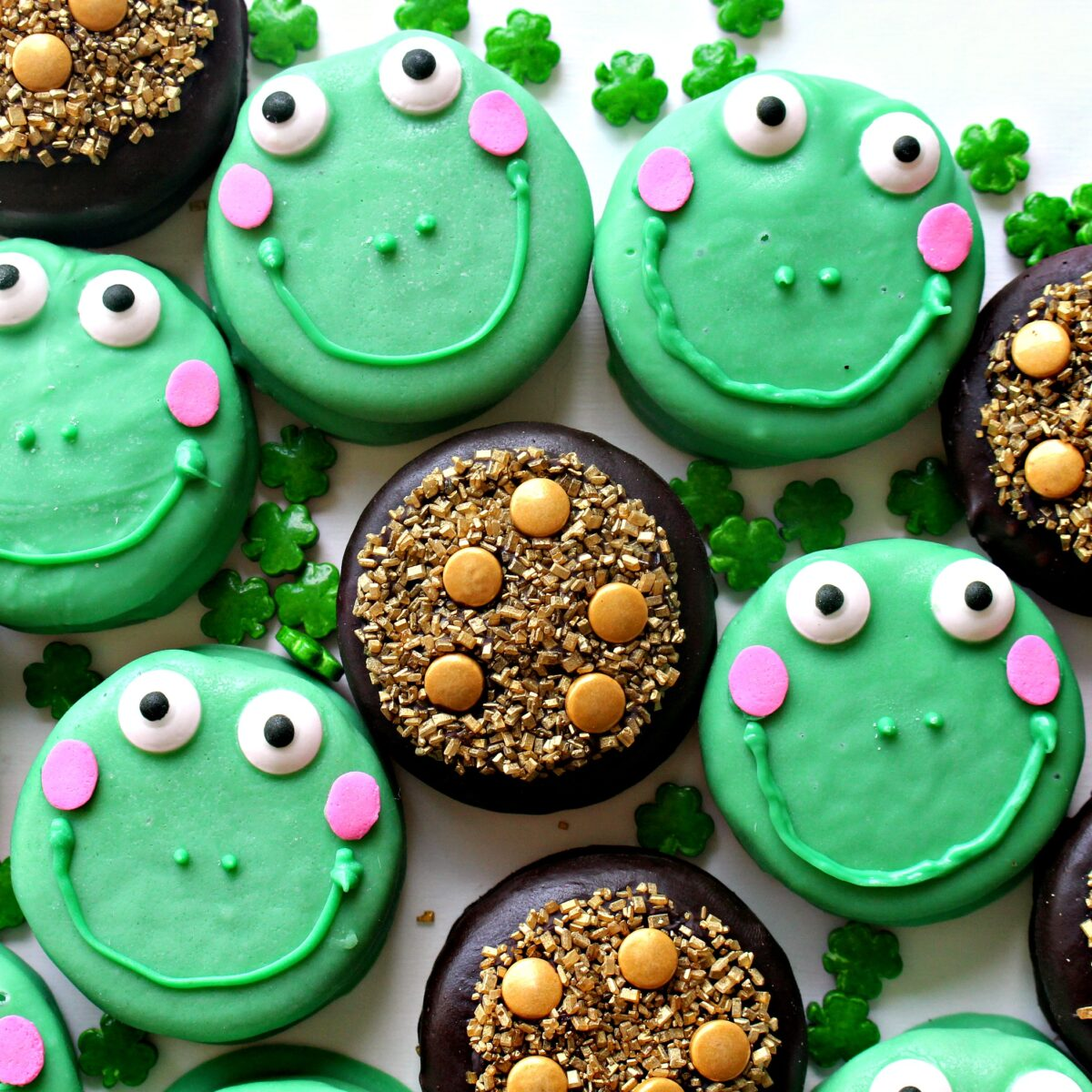 Chocolate covered cookies decorated like frog Leap-rechauns and Pots of Gold.