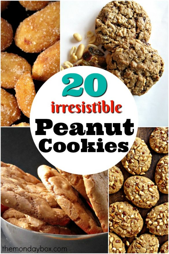 20 Irresistible Peanut Cookies to Bake Right Now collage showing roated peanuts, Marathon Cookies, Honey-Roasted Peanut Cookies, and Toffee Peanut Cookies
