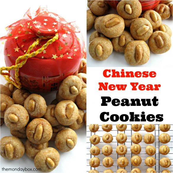 Chinese New Year Peanut Cookies collage showing peanut cookies from themondaybox.com