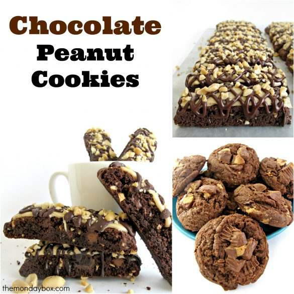 Chocolate Peanut Cookies collage showing Snickers Biscotti and Chocolate Peanut Butter Cup Cookies.